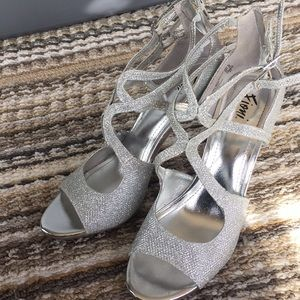 FIONI Silver Shiny Adjustable Strappy Heels